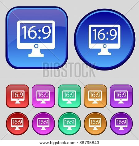 Aspect Ratio 16 9 Widescreen Tv Icon Sign. A Set Of Twelve Vintage Buttons For Your Design. Vector