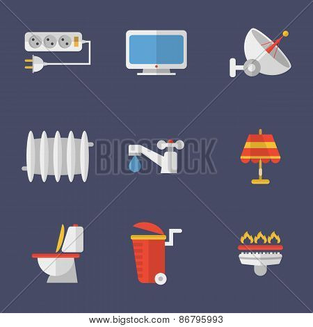 Set Of Icons Electricity, Heating, Water And Other Utilities. Vector Illustration