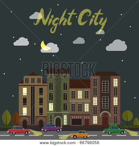 City street at night. Cars and buildings in cartoon style