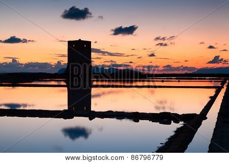 Trapani Salt Pans At Sunset