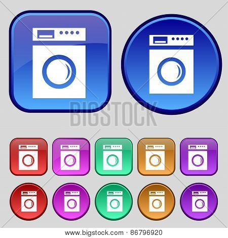Washing Machine Icon Sign. A Set Of Twelve Vintage Buttons For Your Design. Vector