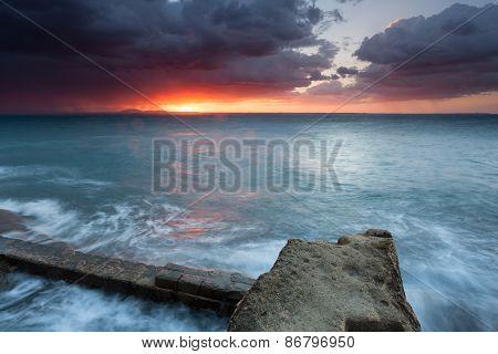 Sicily, Stunning Sunrise On The Sea
