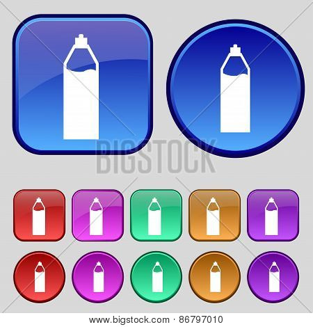 Plastic Bottle With Drink Icon Sign. A Set Of Twelve Vintage Buttons For Your Design. Vector