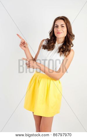 young woman finger pointing