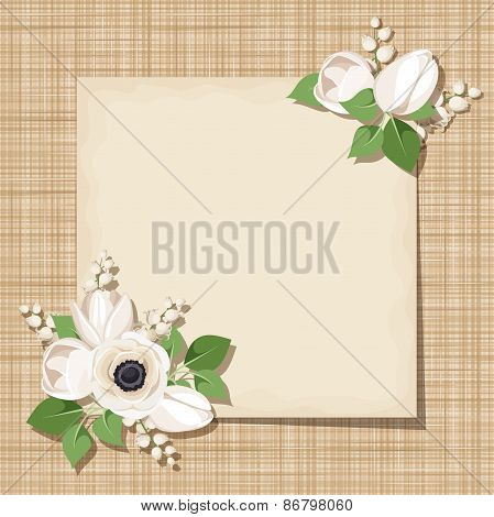 Vector card with white flowers on a sacking background. Eps-10.