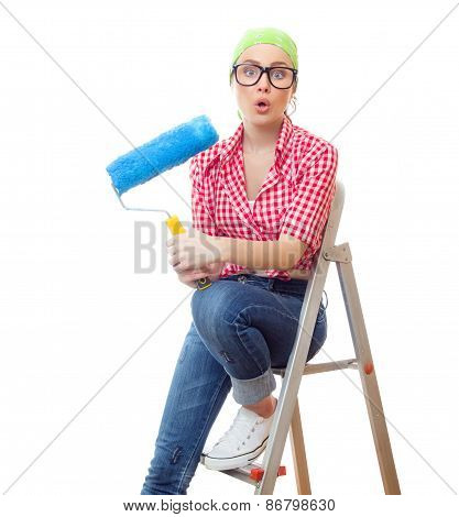 Amazed Woman With Roller Ready For Wall Painting Or New Home Renovating, Isolated On White