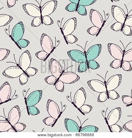 Seamless Pattern Background With Butterflies
