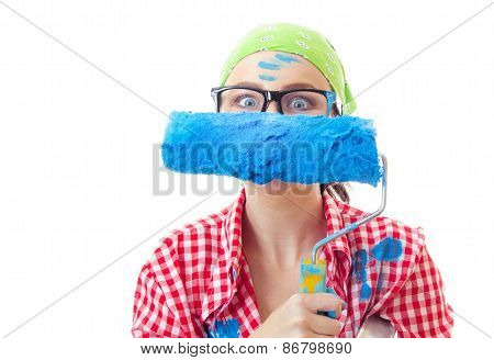 Playful Funny Amazed Woman With Roller Ready For Wall Painting Or New Home Renovating, Isolated On W