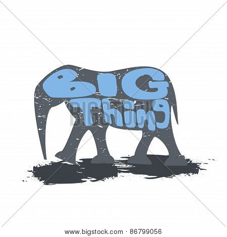 Large Elephant Walking With The Inscription.