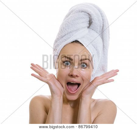 Funny Woman After Bathing Screaming,isolated On White