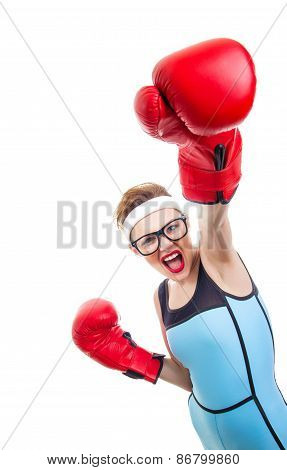 Boxer - Fitness Woman Boxing Wearing Boxing Gloves