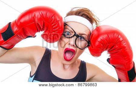 Funny Woman With Boxing Gloves Screaming, Isolated On White