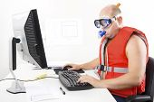 image of vest  - Strange office worker in life vest and scuba diver gear at the office - JPG