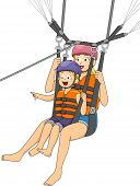 stock photo of parasailing  - Illustration of a Boy Parasailing with His Mother - JPG