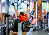 stock photo of barbell  - Barbell plates holder rack in the gym - JPG