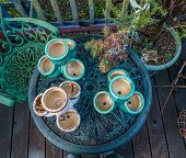 picture of planters  - Empty planters sit on a table waiting to be filled - JPG