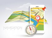 stock photo of compasses  - White smartphone with navigator map - JPG