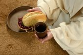 image of communion-cup  - Jesus during communion holding bread and wine - JPG