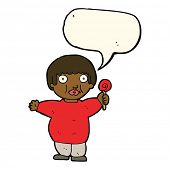 foto of obesity children  - cartoon fat child with speech bubble - JPG