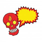 pic of mystical  - cartoon mystic skull with speech bubble - JPG