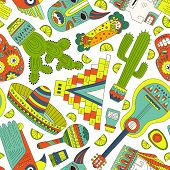 pic of tacos  - Seamless vector pattern with hand drawn mexican elements  - JPG