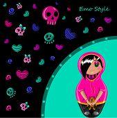stock photo of emo  - Card in emo style - JPG