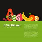 pic of vegetable food fruit  - Healthy eating vector concept with flat fruits vegetables and copyspace - JPG