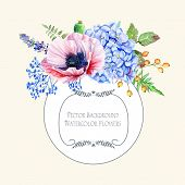 image of hydrangea  - Watercolor blue hydrangea lavender red poppies - JPG