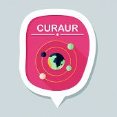 picture of earth mars jupiter saturn uranus  - Space Planet Flat Icon With Long Shadow - JPG