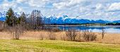picture of bavarian alps  - Panorama of Bavarian Alps countryside lake landscape - JPG