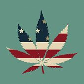 image of marijuana leaf  - Marijuana leaf with the USA flag colors vector illustration - JPG