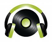 stock photo of disc jockey  - Illustration of a Vinyl and Headphones of Disc Jockey - JPG