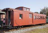 image of wagon  - The antique wagon for passengers that used to ride on a narrow railway  - JPG