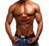 picture of shirtless  - Portrait of a fit muscular african american shirtless man - JPG