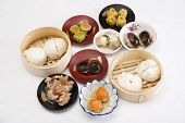 stock photo of chinese menu  - Group of stream Dim Sum chinese food / Cooking Dim sum concept