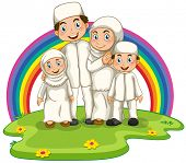 image of muslim kids  - Muslim family standing in the park - JPG