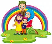 foto of muslim kids  - Muslim family with rainbow background - JPG
