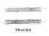 stock photo of race track  - Tire tracks background in black and white style - JPG