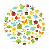 picture of spring-weather  - Cute spring background with icons representing spring activities - JPG
