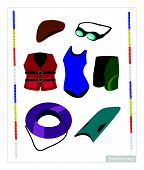 foto of swimming  - Illustration Collection of Swimming Accessory for Swimming Pool Isolated on White Background - JPG