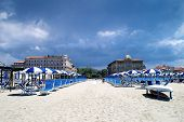 picture of art nouveau  - View from the beach in Viareggio Tuscany Italy on two historic Art Nouveau hotels - JPG