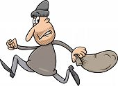 stock photo of plunder  - Cartoon Illustration of Thief Running Away with Sack - JPG