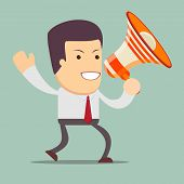 foto of motivation talk  - Vector illustration of a cartoon businessman walking and talking into a megaphone  - JPG