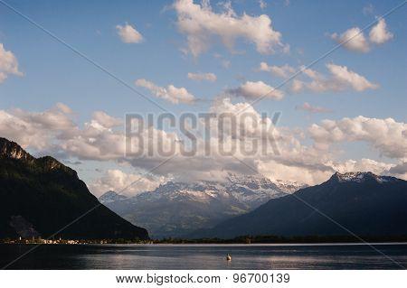 View On Alp Mountain Over Geneva Lake