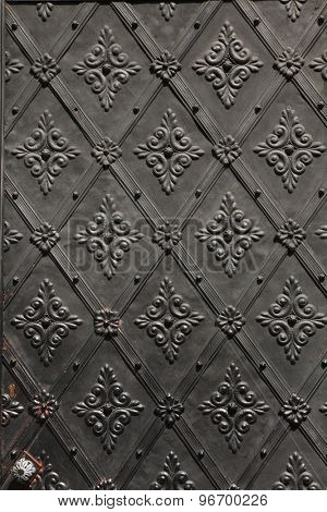Old metal gate. Background texture.