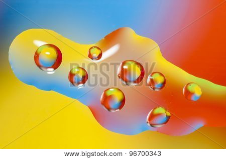 Oil Drops On Water Surface