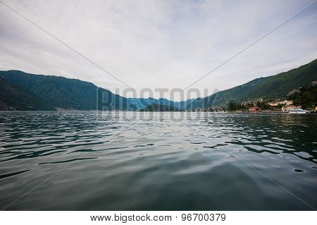 Como Lake District. Landscape With Marina And Italian Traditional Village.  Italy, Europe.