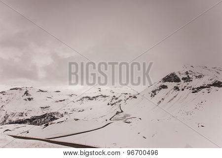 Road Through Snowy Mountains.