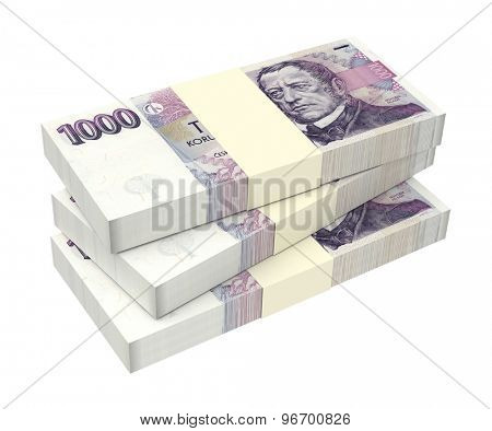 Czech Koruna isolated on white background. Computer generated 3D photo rendering.