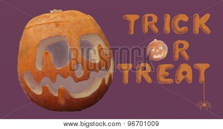Trick Or Treat Orange Pumpkin And Spider